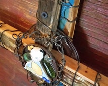 Cross - tamiwoodcreations - old barn wood - recycled - found objects - old - wire parts - ceramics peacefulc