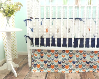 Boutique Crib Bedding in Navy, Orange, Gray, and Mint with Deer Head Theme