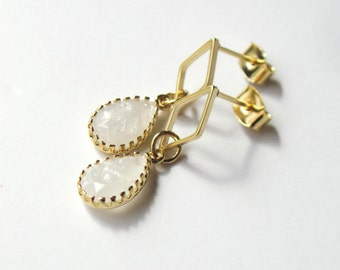 Frosted White Earrings, Bridal Jewelry, Gift for Her, Small Gold Dangle Earrings, Winter Jewelry