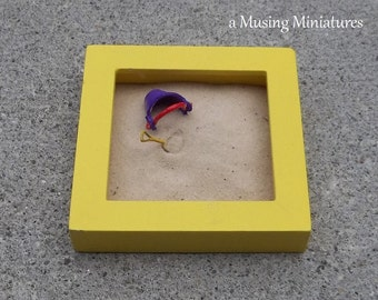 LAST ONE Yellow Sandbox with Pail and Shovel in 1:12 Scale for Dollhouse Miniature Backyard Roombox