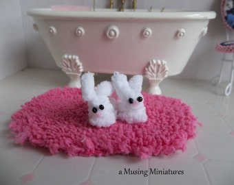 Fluffy White Bunny Slippers in 1:12 Scale for Dollhouse Miniature Bedroom or Nursury