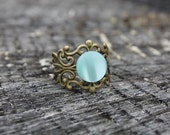 SALE Milky Sea Green Bronze Filigree Ring