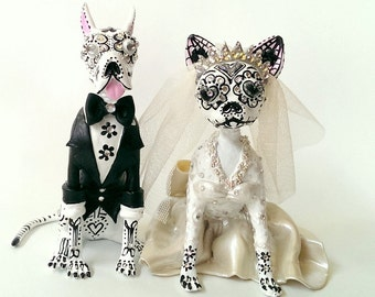 Skull great dane & chihuahua wedding handmade skull dogs collections cake topper