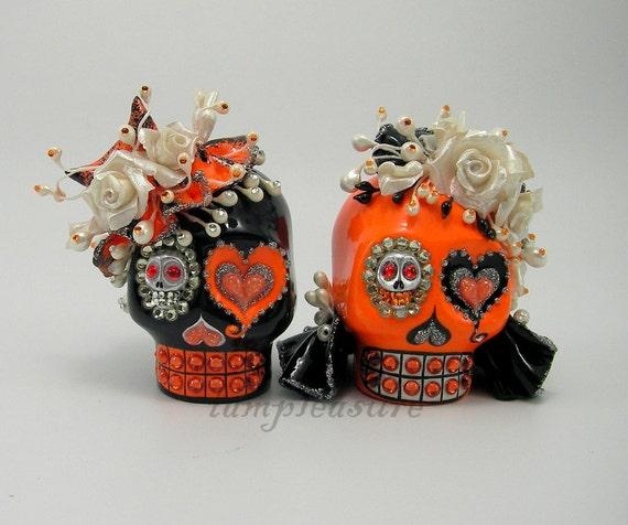 MINI cake topper Skull black and orange halloween weddings handmade bride and groom MST0002