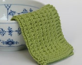 Hand knitted baby wash cloth - soft cotton pea green