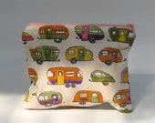 Ivory caravan zipper pouch - toiletry bag - pink lining orange yellow green purple