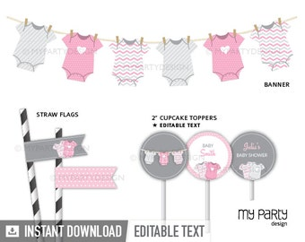 Pink Baby Shower Party Pack, bodysuit theme - Girl Baby Shower - INSTANT DOWNLOAD - Printable PDF with Editable Text