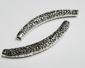 2 Floral Curved Tubes large spacer bars engraved flowers antique silver large hole 67x9mm DB01328