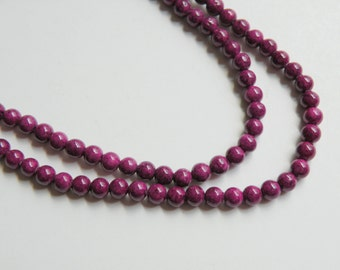 Riverstone beads in plum purple round gemstone 4mm full strand 4277GS