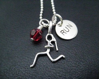 GIRLS LOVE to RUN Sterling Silver Necklace - 16, 18 or 20 inch Sterling Silver Ball Chain - Choose Heart or Crystal - Girls Run Fast - Run