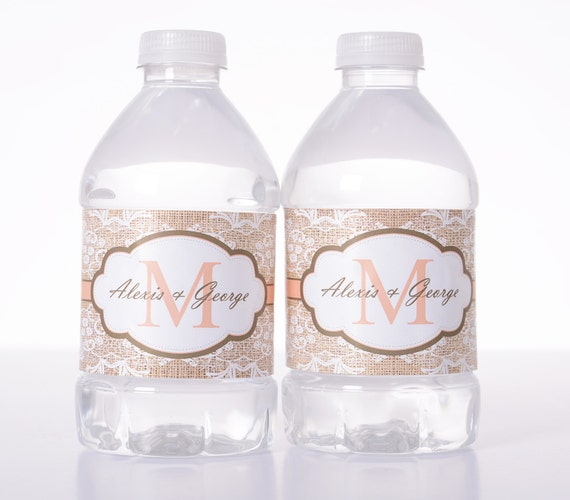 50 Wedding Water Bottle Labels - Wedding Water Labels - Custom ...