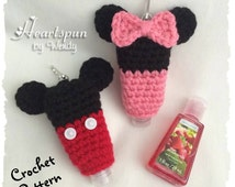 CROCHET PATTERN for Mickey Mouse and Minnie Mouse Hand Sanitizer Holder, for 1 to 2 oz bottles.  Pdf Format, Instant Download.