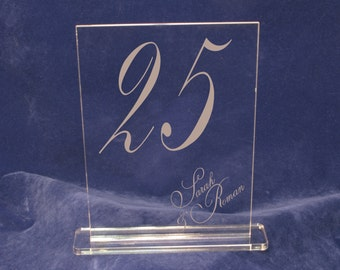 Caligraphy Table Numbers Personalized with your names - Engraved Acrylic for Receptions and Parties