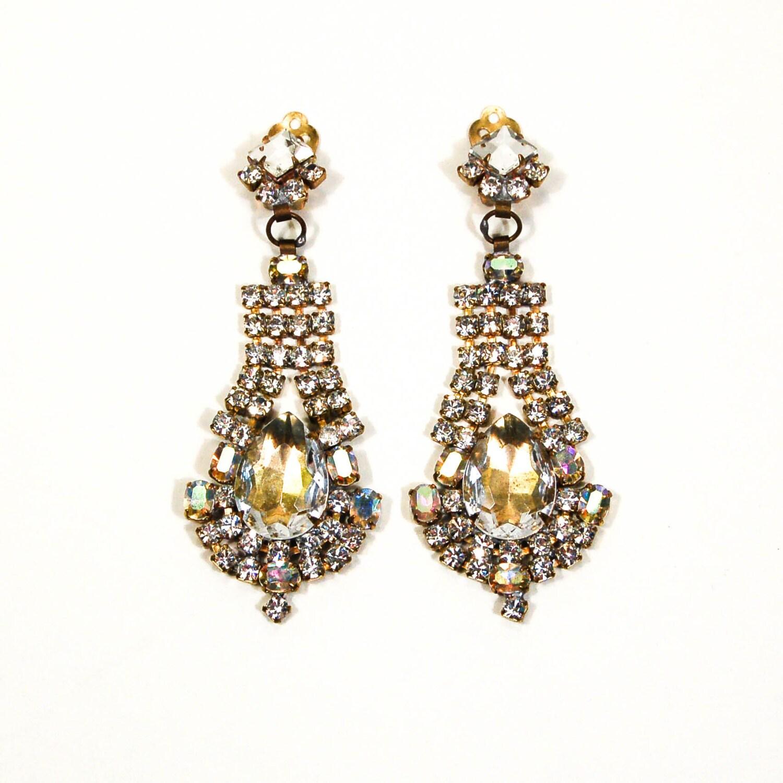 rhinestone chandelier earrings bijoux mg clip by