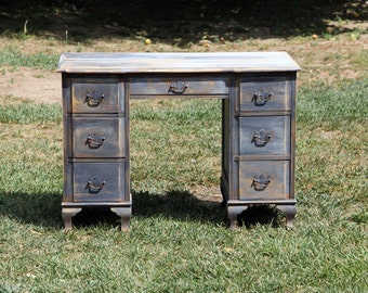 Vintage Desk Painted and Distressed 7 Drawers