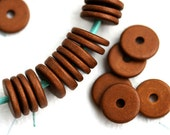 10Pc Greek Ceramic beads - Copper beads, brown - 13mm spacer, for leather cord, washer, round, rondelle, rustic - 2285