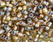 Topaz seed beads, TOHO beads, size 11/0, Gold-Lined Rainbow Topaz N 278, rocailles - 10g - S509