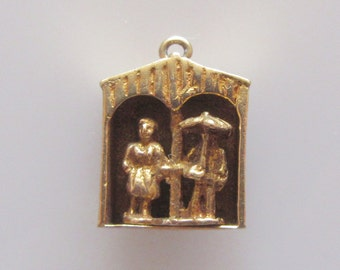 9ct Gold Weather Vane Couple Moving Charm