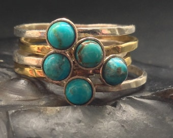 Turquoise Stacking Rings - Brass & Sterling Silver