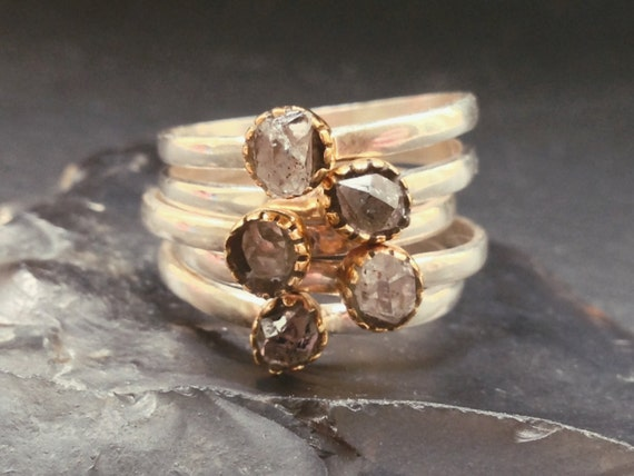 Quartz Stacking Rings - Brass & Sterling Silver