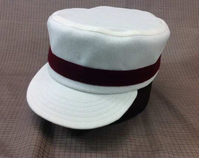 Brooklyn Atlantics vintage base ball team box cap. White wool flannel with one maroon wool band. Cotton or leather sweatbands, any size.