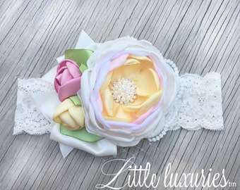 Margaret Sister - Pink , Cream, and Yellow Satin Flower Headband, Pink, Butter, and Ivory, Satin and Lace Headband, Satin Peony Flower,  M2M