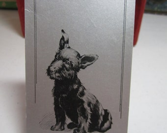 1935 silver gilded american Bridge League bridge tally card with cute black scotty dog