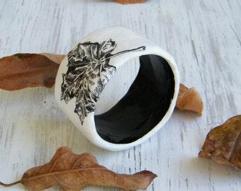Bangle bracelet / Black and white print / Upcycled Paper Mache Bracelet  / Leaf bracelet / Feather print