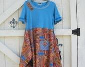 Boho dress, Tunic dress, turqoise, Rustic dress, oriental silky, hippie lagan sytle, gypsy cowgirl, L-XL, Eco fashion, artsy dress,