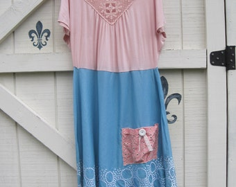 L beach dress, pink blue, Victorian rustic, summer bohemian, Vintage romantic, pink embroidered, Boho dress, L, artsy clothing