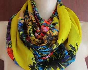 Yellow Scarf,Chiffon Long Scarf,İnfinity Scarf,Sarong,Women Scarf,Mother's Day Gift Ideas For Her,Beach Palm Print,Ladies Pareo Wrap Shawl