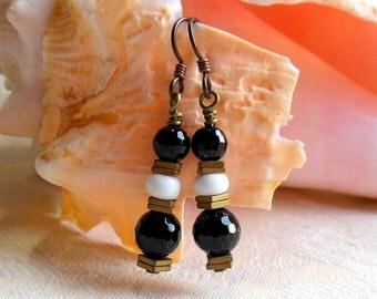 Black white and gold earrings, niobium earrings, hypoallergenic, black onyx, antique brass hematite and white ceramic