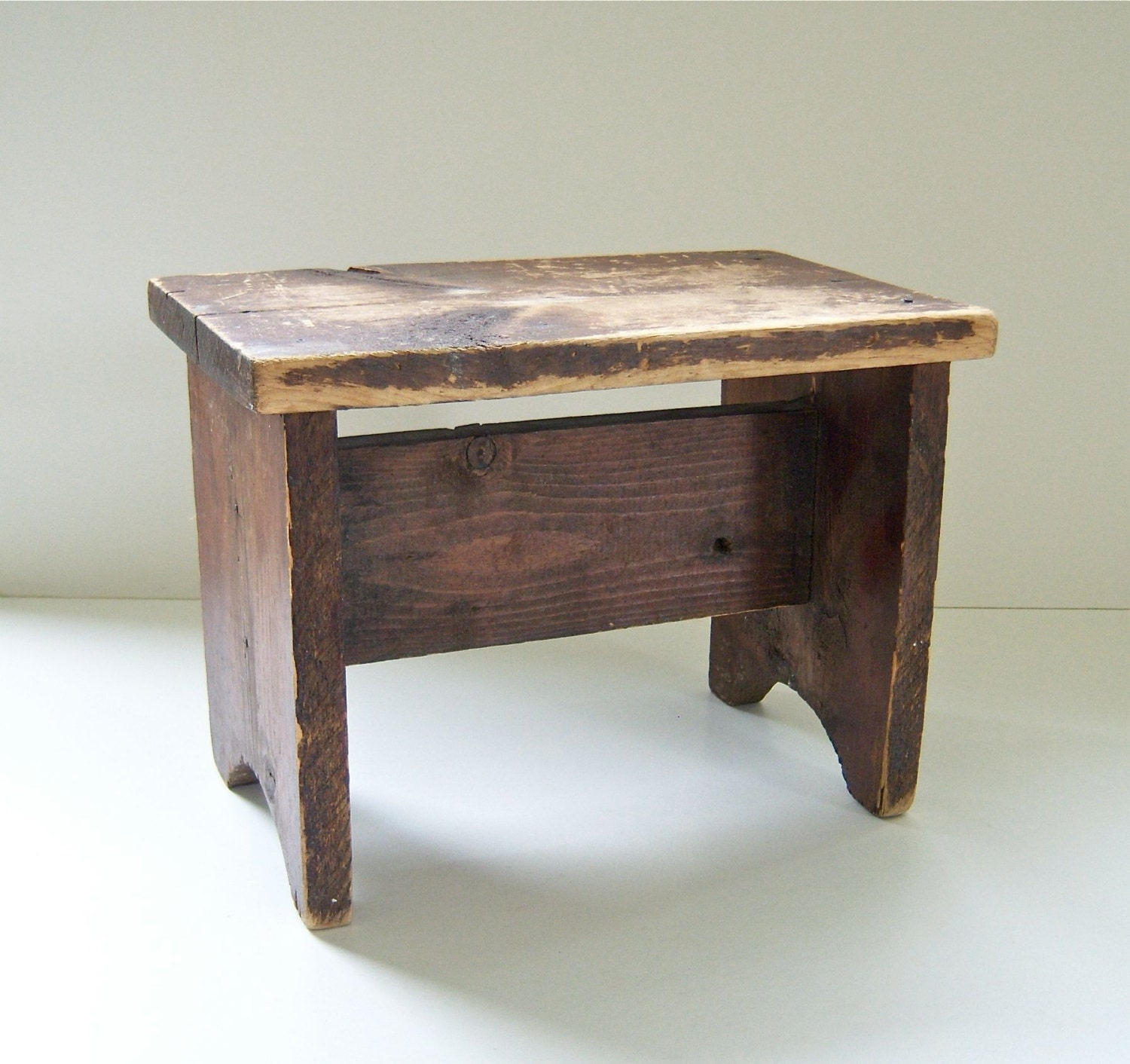 Vintage Wooden Bench Small Step Stool Child Size By
