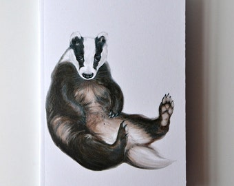 Badger Notebook - Woodland Animal - Friendly Badger - A6 - Eco and Recycled - Compact Notebook