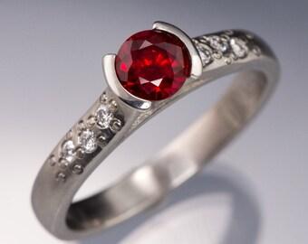 Chatham Ruby Engagement Ring, ethical Diamond Star Dust Textured Band, Palladium, Platinum, White Gold, Yellow & Rose Gold