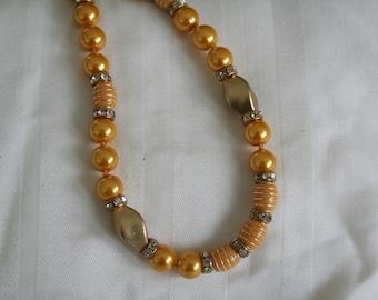 Vintage Dark Yellow and Rhinestone Beaded Necklace