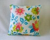 "16"" x 16' Pillow with Insert, Aqua, Peach and Lime Green, Decorative Fabric"