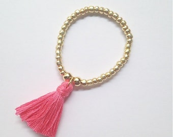 JEWELRY COLLECTION: Choose Your Color Gold BeadTassel Bracelet