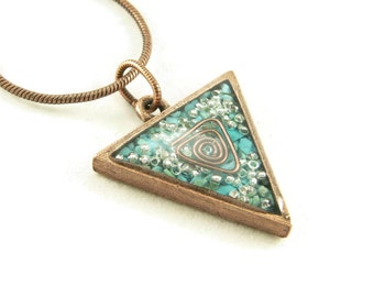 Orgone Energy Triangle Pendant in Copper with Turquoise - Unisex Necklace - Men's Necklace - Energy Jewelry - Artisan Jewelry