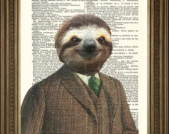 """SLOTH ART PRINT: Fun Animal in Suit, Vintage Dictionary Page Wall Hanging (8 x 10"""")"""