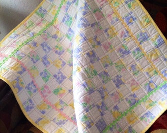 "A 31.5"" X 33.5"" Postage Stamp Quilt In A Pastel Watercolor Floral"