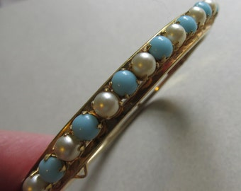 Aqua Blue Glass And Faux Pearl Hinged Bangle Bracelet Vintage Costume Jewelry