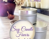 12 - 4 oz. Soy Candle Favors  Soy Candle Tins Wedding Favors Natural Soy Candle Shower Favors Eco Friendly Party Favors Made in the USA