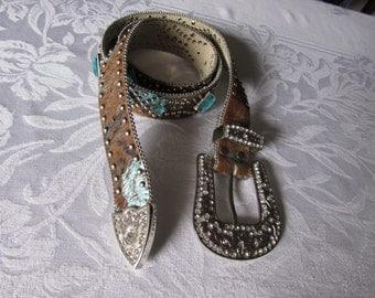 Vintage Belt, Leather Cowhide Rhinestone Brown turquoise, Cowboy/ high fashion retro large