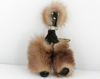 Mink Afghan Dog Brooch with Rhinestone Collar // Vintage Estate Jewelry // fruitsdesbois
