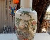 Shibata Japan Vase  --  Satsuma Style Vase with Peacocks, Bamboo and Flowers