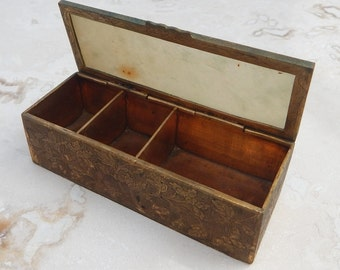 Antique Etched Brass and Glass Stamp Box  ~  Antique Brass Stamp Box  ~  Brass Stamp Box  ~  Divided Brass Stamp Box Made in China