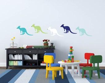 Wall decals - Nursery decal - Kangaroo decal - Vinyl decal - Kids - Playroom decal - Decal