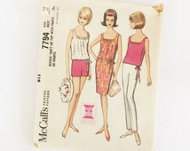 McCall's pattern 7794, sewing pattern, pants, shorts, dress and top pattern for sewing, 1965