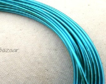 Aluminum wire for jewelry and crafts, 2mm 12 gauge round, turquoise blue, 39 foot coil